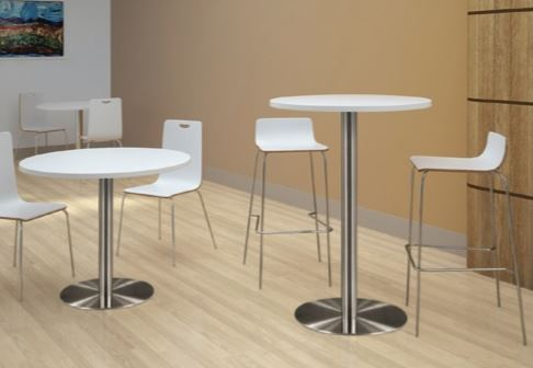modern breakroom set. White round tables, one tall and one short. Tall table has two round white and metal chairs and shorter table has two white metal shorter chairs