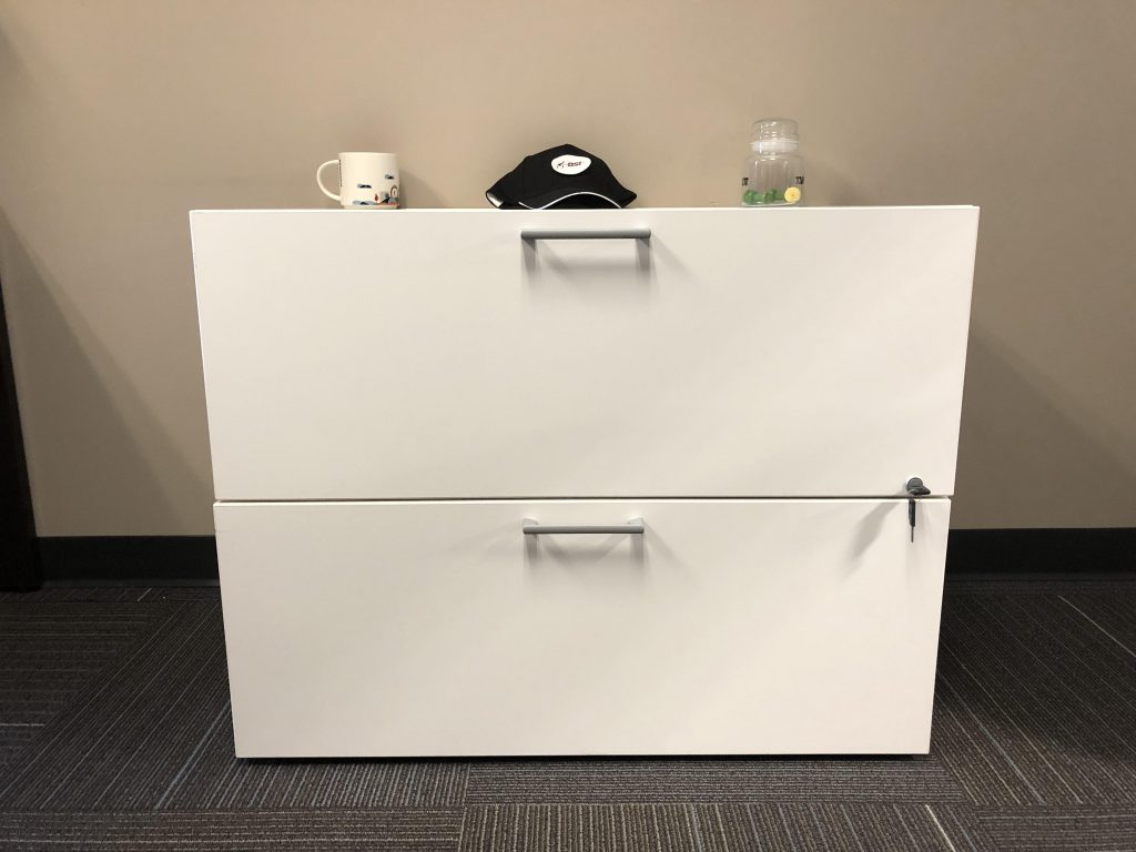 white lateral filing cabinet with modern silver handles