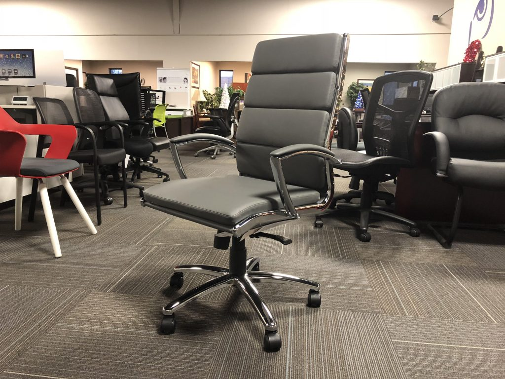 office chair with padded backing and metal frame and wheels