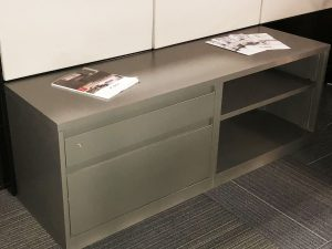 horizontal dark gray lateral with two drawers and two cabinets and one lock