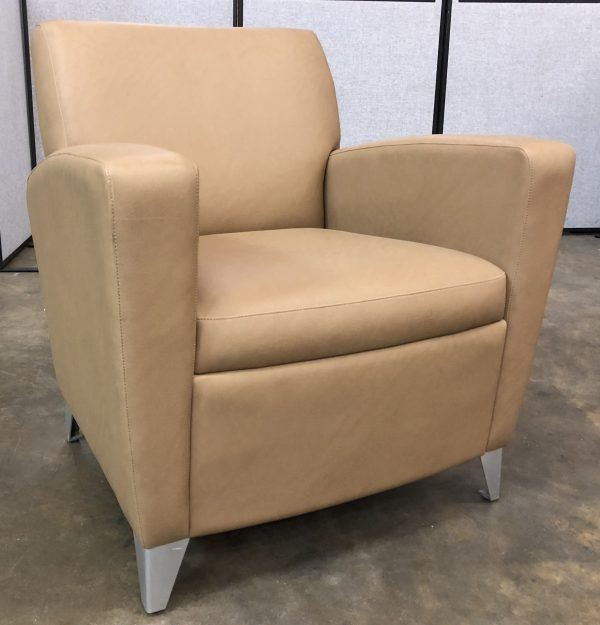 tan leather chair with metal legs