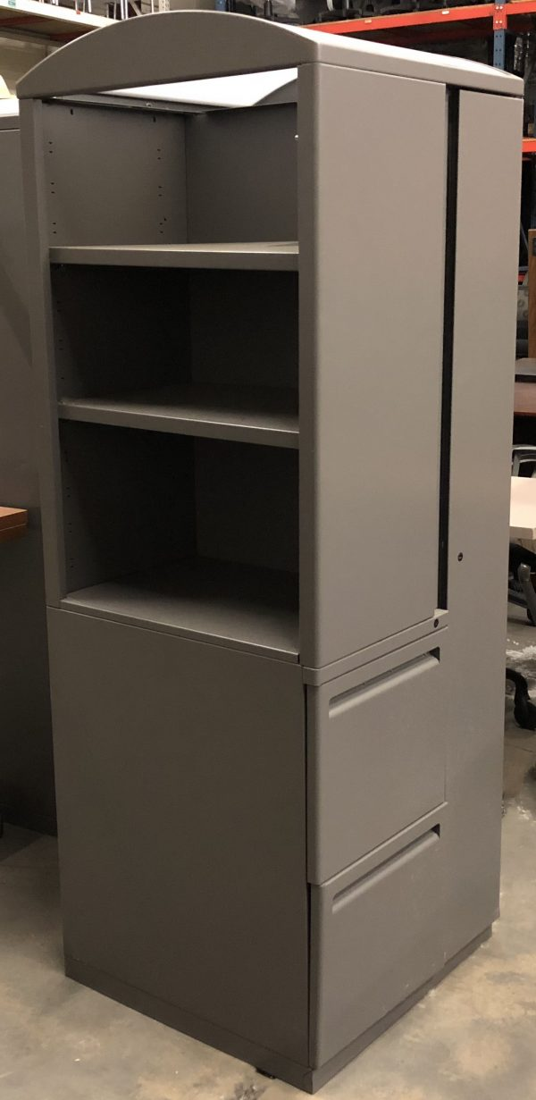 gray storage unit with three shelves and and two cabinets on the right side