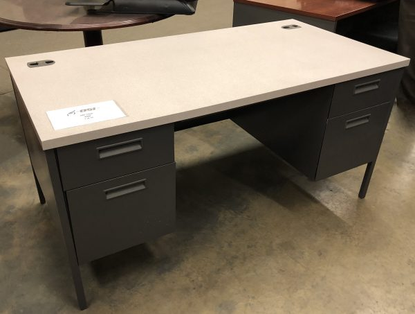 desk with white slate top and gray metal base with a set of gray metal drawers