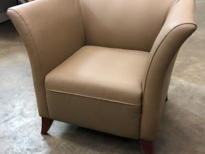 deep tan leather modern chair