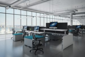 Benching stations in a modern workspace.