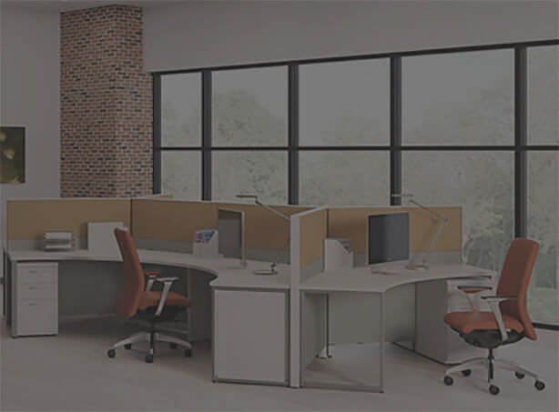 white office desk with orange chairs and tan dividers