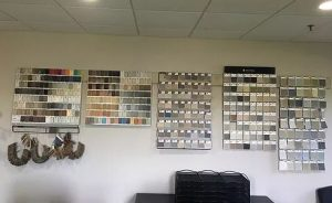 Wall of fabric samples