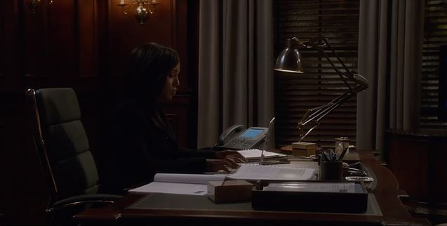 Olivia Pope sitting in a Herman Miller chair
