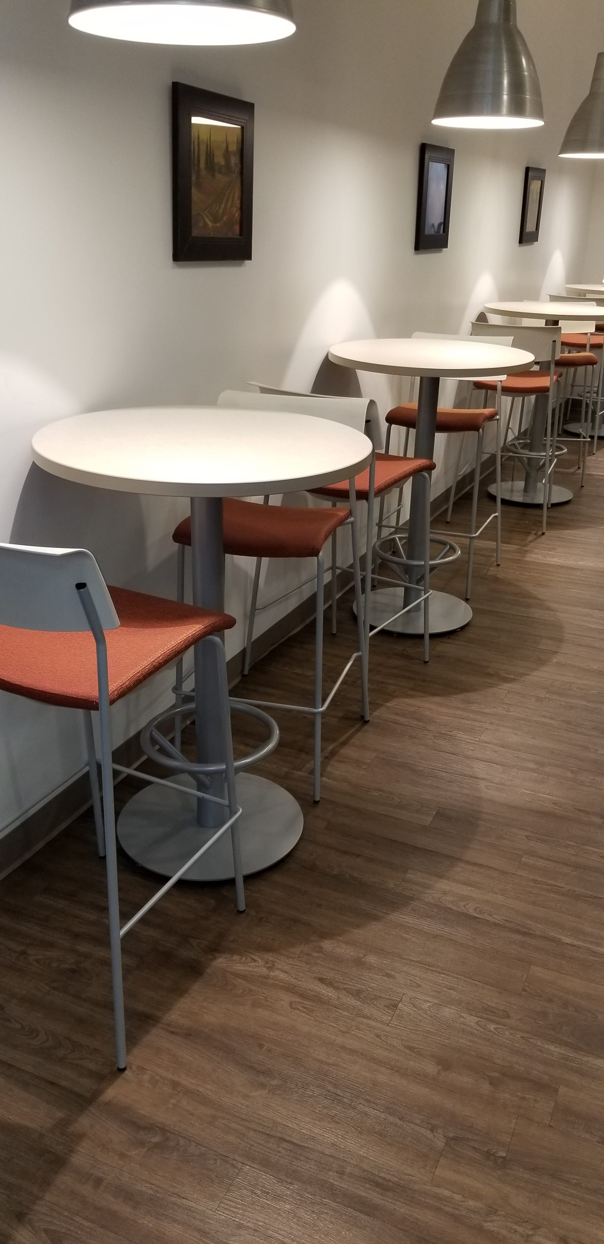 Break Room Furniture Knoll Arena Tables Hon White Orange Seating